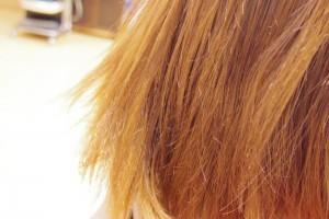 傷んだ髪の毛をズームで