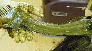 髪の毛にたっぷりヘナを塗布する